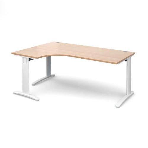 TR10 deluxe left hand ergonomic desk 1800mm - white frame and beech top