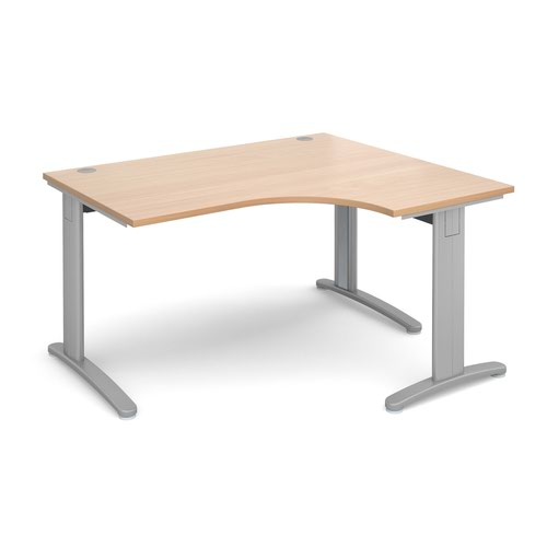 TR10 deluxe right hand ergonomic desk 1400mm - silver frame and beech top