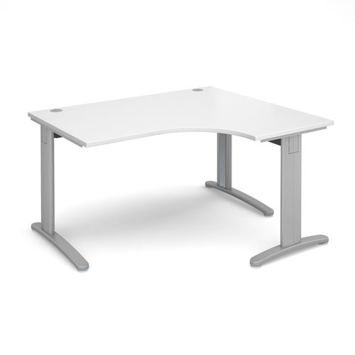 TR10 deluxe right hand ergonomic desk 1400mm - silver frame and white top