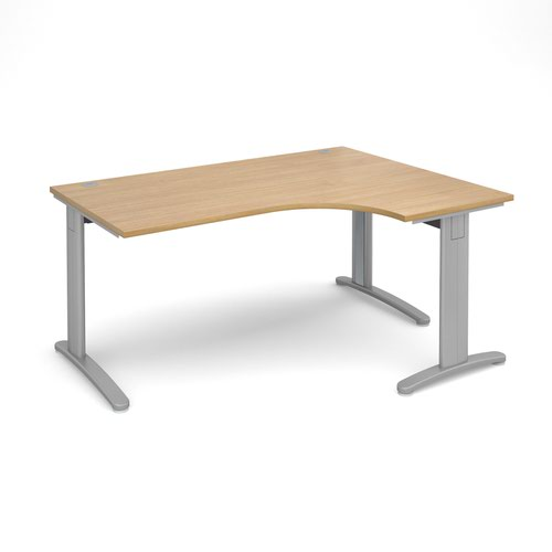 TR10 deluxe right hand ergonomic desk 1600mm - silver frame and oak top