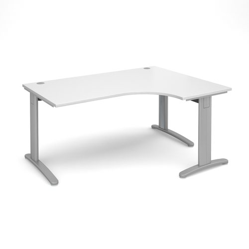TR10 deluxe right hand ergonomic desk 1600mm - silver frame and white top