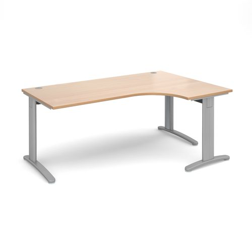 TR10 deluxe right hand ergonomic desk 1800mm - silver frame and beech top