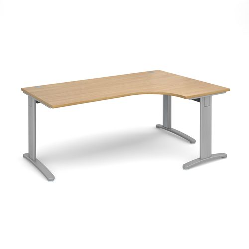 TR10 deluxe right hand ergonomic desk 1800mm - silver frame and oak top