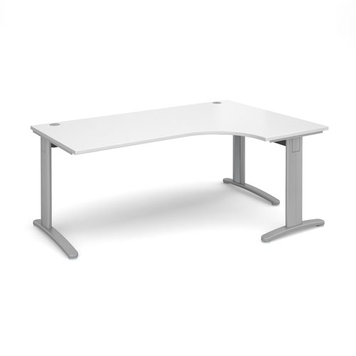 TR10 Deluxe Ergonomic Desk Right Hand 1800x1200x725mm Silver Frame/White Top TDER18SWH