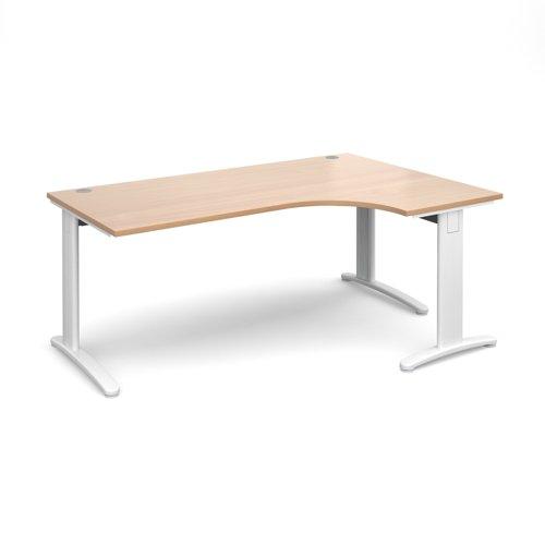 TR10 deluxe right hand ergonomic desk 1800mm - white frame and beech top