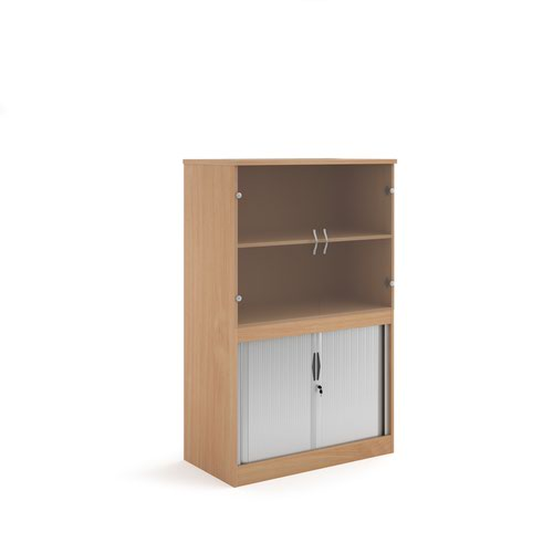 Systems combination unit with tambour doors and glass upper doors 1600mm high with 2 shelves - beech