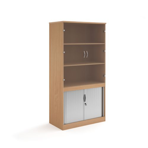 Systems combination unit with tambour doors and glass upper doors 2000mm high with 2 shelves - beech