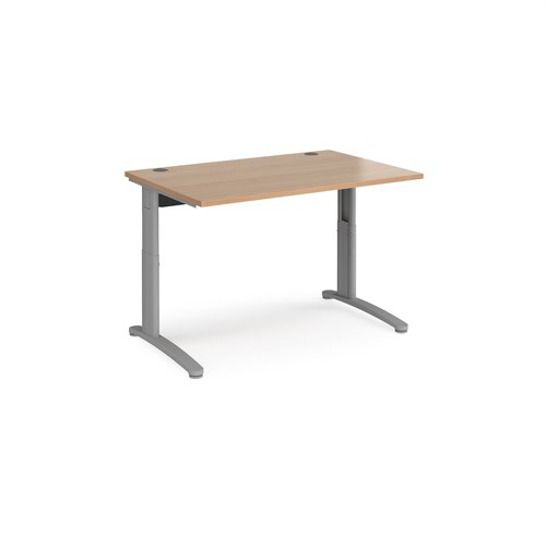 TR10 height settable straight desk 1200mm x 800mm - silver frame and beech top