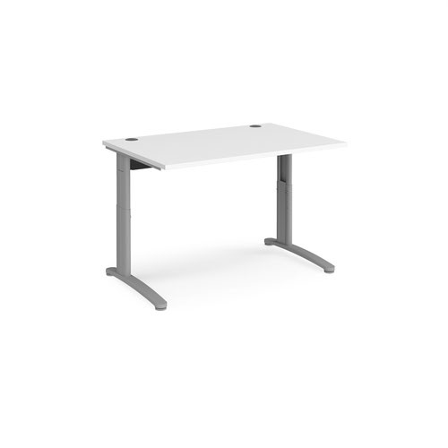 TR10 height settable straight desk 1200mm x 800mm - silver frame and white top