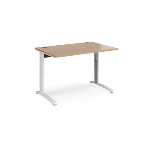 TR10 height settable straight desk 1200mm x 800mm - white frame and beech top