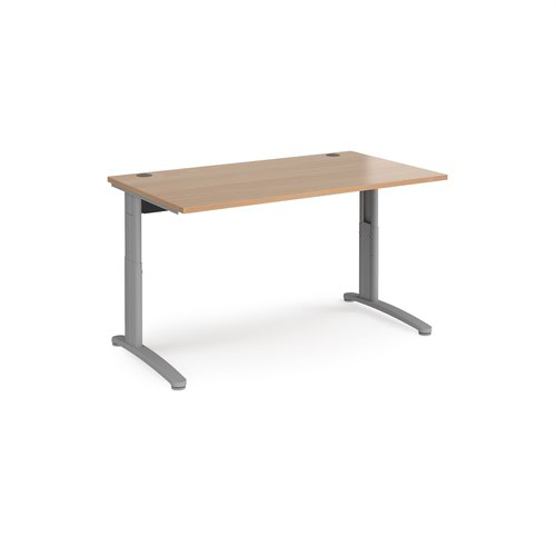 TR10 height settable straight desk 1400mm x 800mm - silver frame and beech top