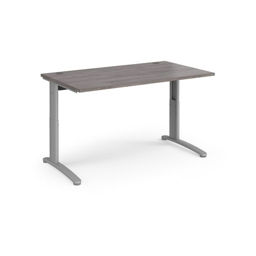 TR10 height settable straight desk 1400mm x 800mm - silver frame and grey oak top