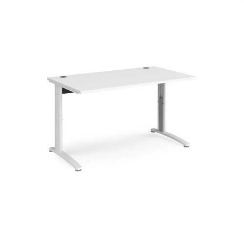 TR10 height settable straight desk 1400mm x 800mm - white frame and white top