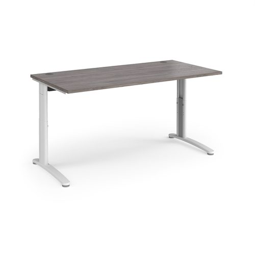 TR10 height settable straight desk 1600mm x 800mm - white frame and grey oak top
