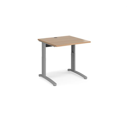TR10 height settable straight desk 800mm x 800mm - silver frame and beech top