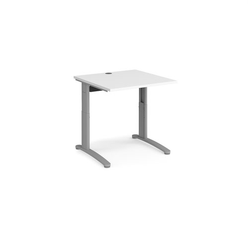 TR10 height settable straight desk 800mm x 800mm - silver frame and white top