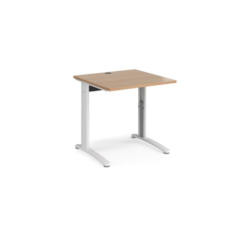 TR10 height settable straight desk 800mm x 800mm - white frame and beech top