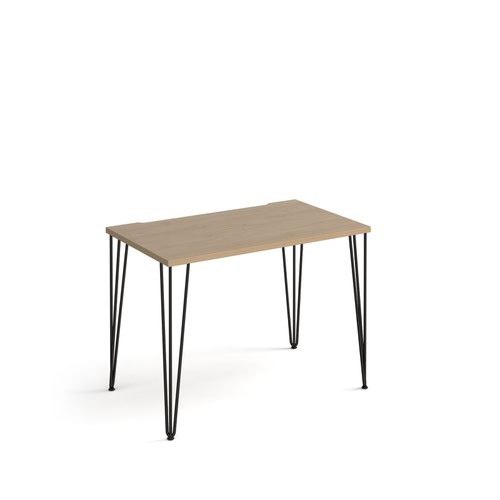 Tikal straight desk 1000mm x 600mm with hairpin legs - black legs and oak top