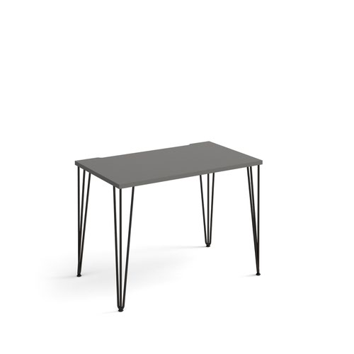 Tikal straight desk 1000mm x 600mm with hairpin legs - black legs and grey top