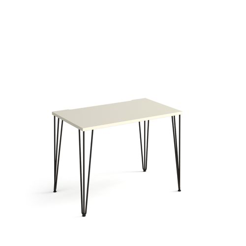 Tikal straight desk 1000mm x 600mm with hairpin legs - black legs and white top