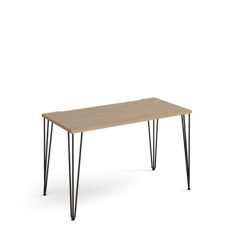 Tikal straight desk 1200mm x 600mm with hairpin legs - black legs and oak top