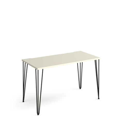 Tikal straight desk 1200mm x 600mm with hairpin legs - black legs and white top