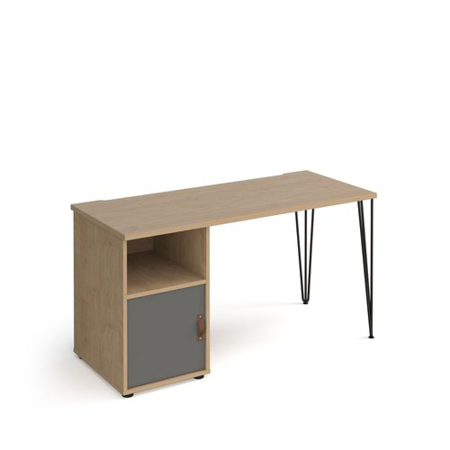 Tikal straight desk 1400mm x 600mm with hairpin leg and support pedestal with cupboard door - black legs and oak finish with grey door