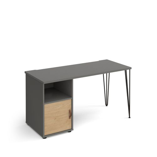 Tikal straight desk 1400mm x 600mm with hairpin leg and support pedestal with cupboard door - black legs and grey finish with oak door
