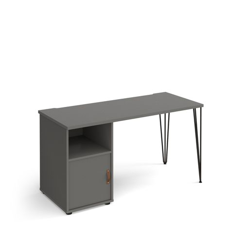 Tikal straight desk 1400mm x 600mm with hairpin leg and support pedestal with cupboard door - black legs and grey finish with grey door