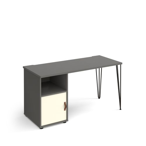 Tikal straight desk 1400mm x 600mm with hairpin leg and support pedestal with cupboard door - black legs and grey finish with white door