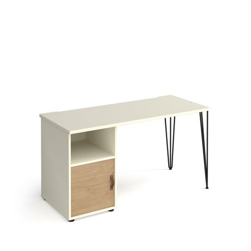 Tikal straight desk 1400mm x 600mm with hairpin leg and support pedestal with cupboard door - black legs and white finish with oak door