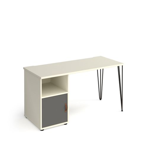 Tikal straight desk 1400mm x 600mm with hairpin leg and support pedestal with cupboard door - black legs and white finish with grey door