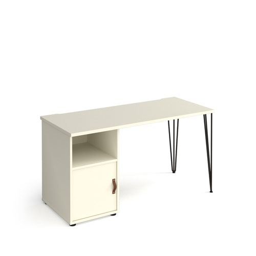 Tikal straight desk 1400mm x 600mm with hairpin leg and support pedestal with cupboard door - black legs and white finish with white door