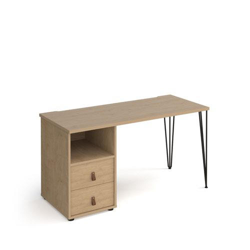 Tikal straight desk 1400mm x 600mm with hairpin leg and support pedestal with drawers - black legs and oak finish with oak drawers