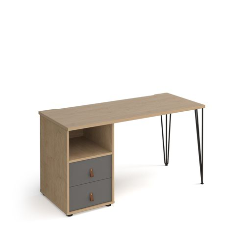 Tikal straight desk 1400mm x 600mm with hairpin leg and support pedestal with drawers - black legs and oak finish with grey drawers