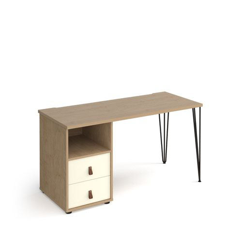 Tikal straight desk 1400mm x 600mm with hairpin leg and support pedestal with drawers - black legs and oak finish with white drawers