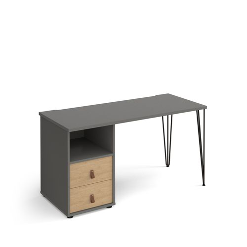 Tikal straight desk 1400mm x 600mm with hairpin leg and support pedestal with drawers - black legs and grey finish with oak drawers