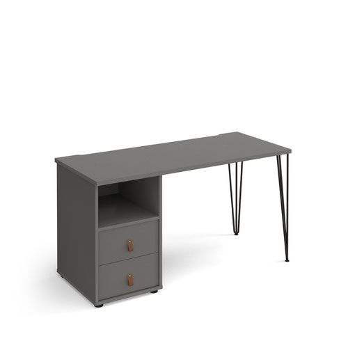 Tikal straight desk 1400mm x 600mm with hairpin leg and support pedestal with drawers - black legs and grey finish with grey drawers