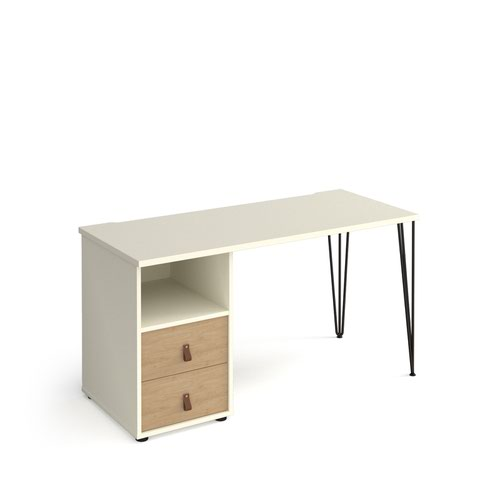 Tikal straight desk 1400mm x 600mm with hairpin leg and support pedestal with drawers - black legs and white finish with oak drawers