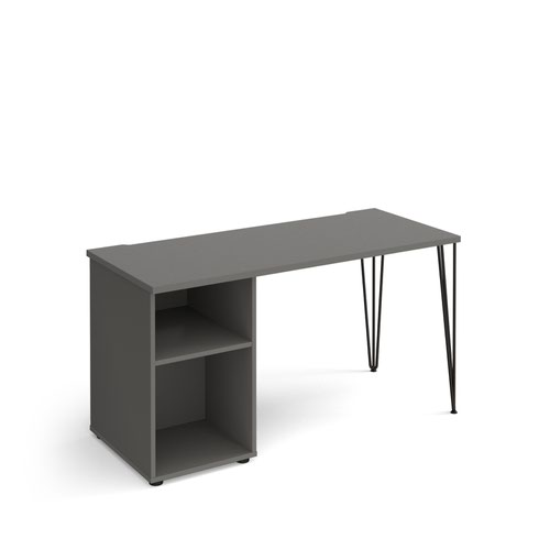Tikal straight desk 1400mm x 600mm with hairpin leg and support pedestal - black legs and grey top