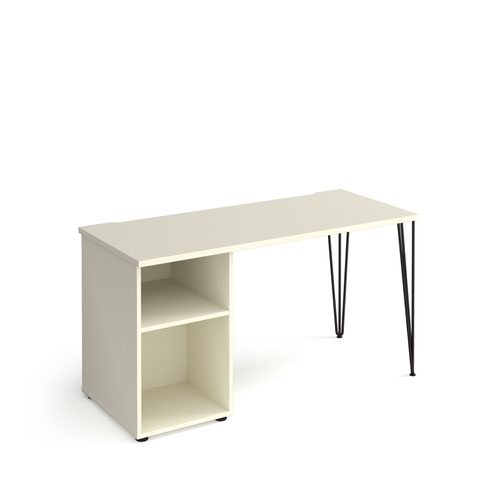 Tikal straight desk 1400mm x 600mm with hairpin leg and support pedestal - black legs and white top