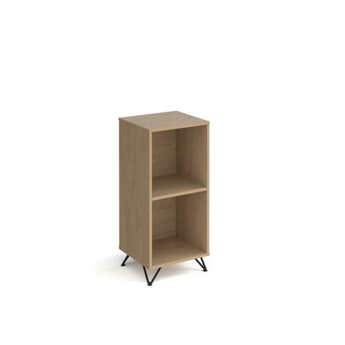 Tikal cube storage unit 950mm high with 2 open boxes and black hairpin legs - oak