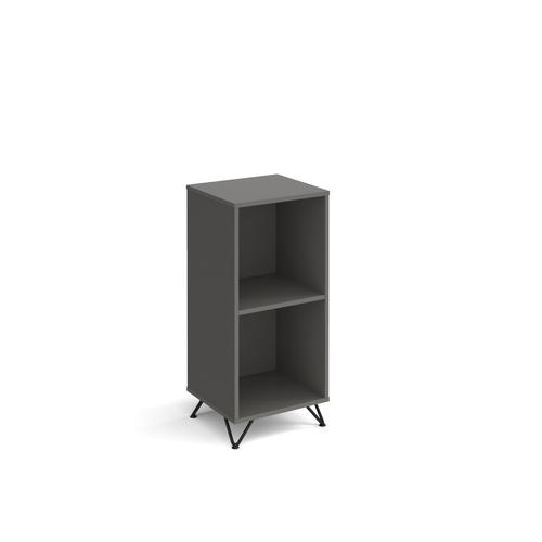 Tikal cube storage unit 950mm high with 2 open boxes and black hairpin legs - grey