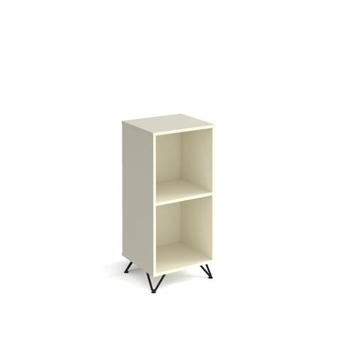 Tikal cube storage unit 950mm high with 2 open boxes and black hairpin legs - white