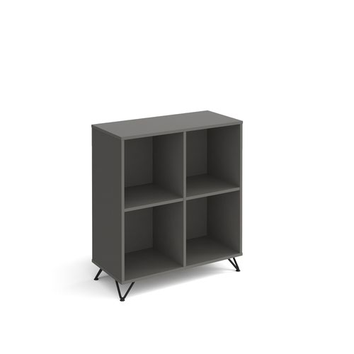 Tikal cube storage unit 950mm high with 4 open boxes and black hairpin legs - grey