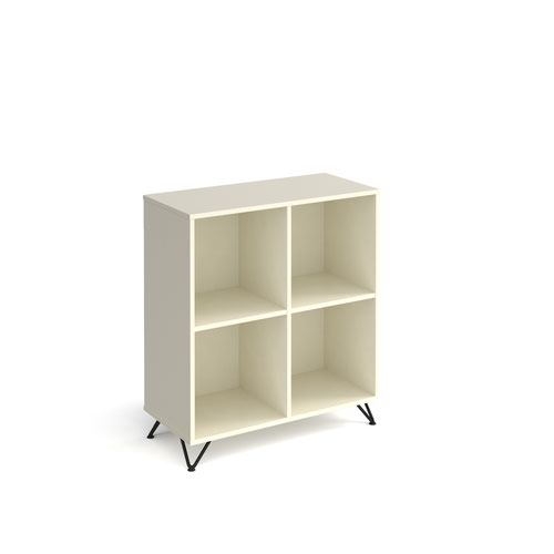 Tikal cube storage unit 950mm high with 4 open boxes and black hairpin legs - white