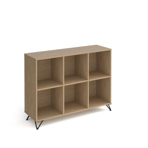 Tikal cube storage unit 950mm high with 6 open boxes and black hairpin legs - oak