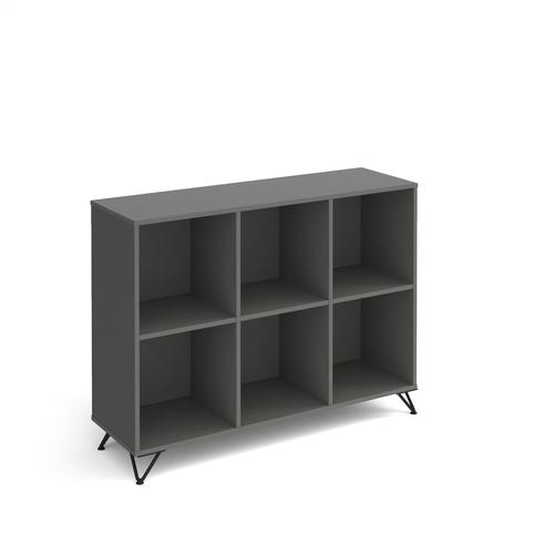 Tikal cube storage unit 950mm high with 6 open boxes and black hairpin legs - grey