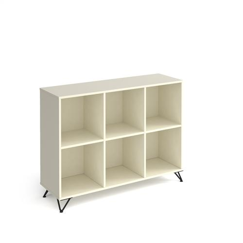 Tikal cube storage unit 950mm high with 6 open boxes and black hairpin legs - white