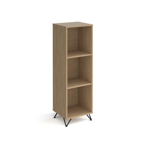 Tikal cube storage unit 1370mm high with 3 open boxes and black hairpin legs - oak